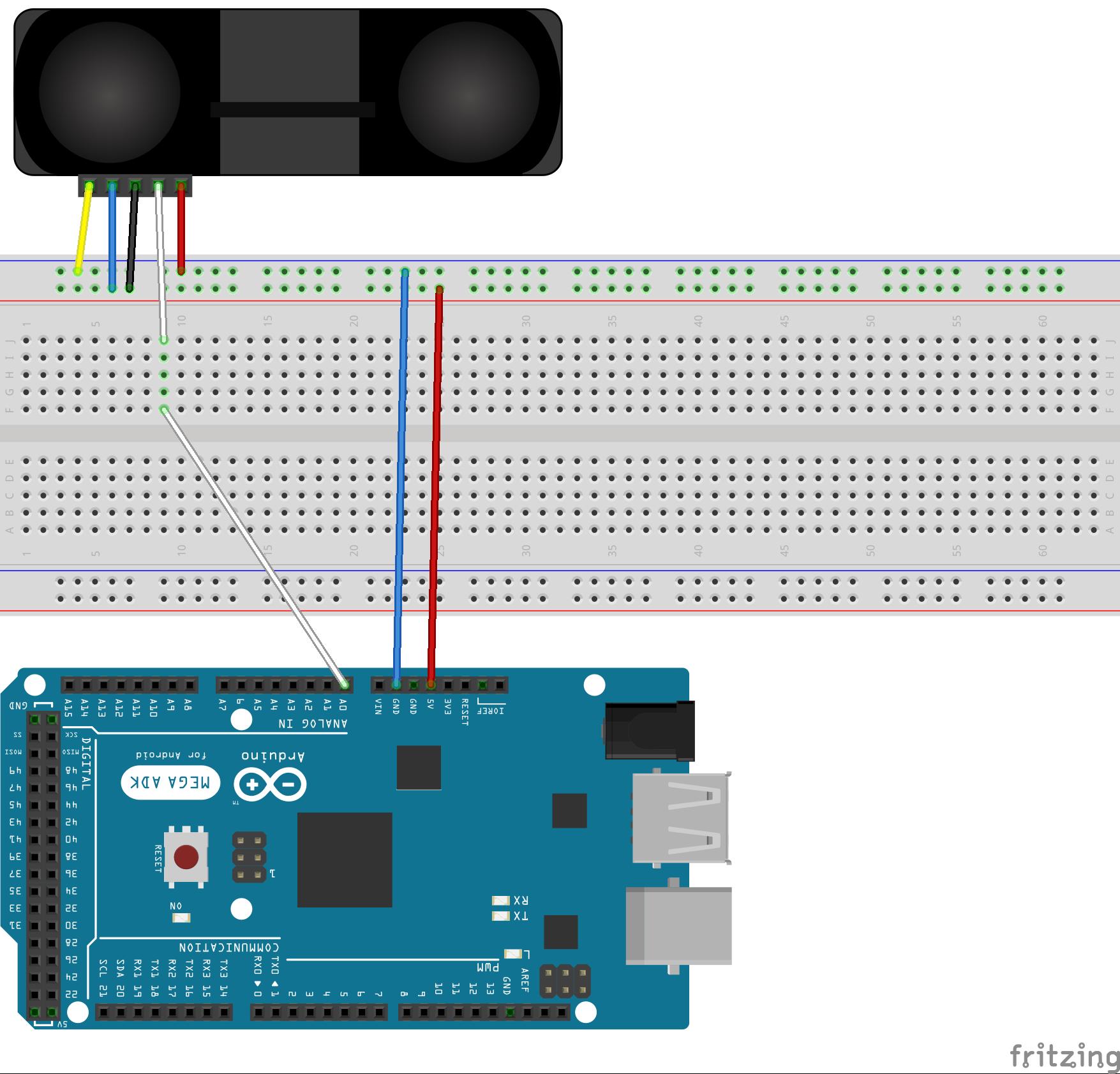 GP2Y0A710K0Fブレッドボード接続図